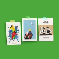 유니크  엽서 포스트카드 M J세트 K세트 5ea