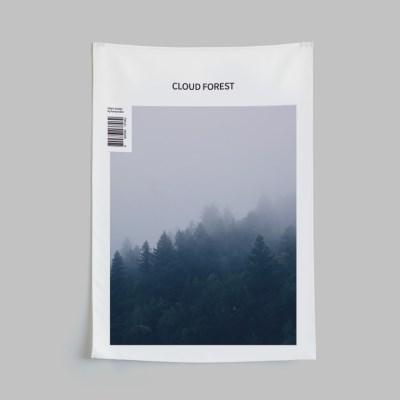 자석형 패브릭포스터 구름숲 가리개커튼L
