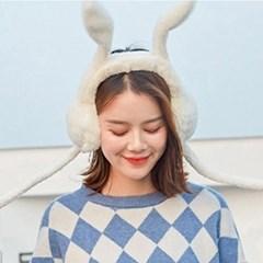 움직이는 토끼귀마개 2color [양털 방한 토끼모자 귀도리 귀덮개]