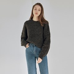 CROP CABLE SWEATER_CHARCOAL