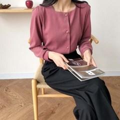 셀리 여성 겨울 연말 노카라 스퀘어넥 블라우스 (아이보리 핑크)