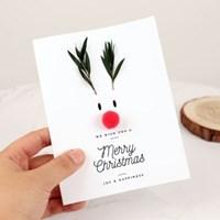 루돌프 크리스마스 드라이플라워 카드-로즈마리