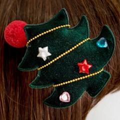 크리스마스 머리핀 트리솜방울 [그린]_(11902210)