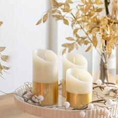 리얼왁스 골드 LED 캔들 초 촛불 은은한분위기 (사이즈3_(1532576)