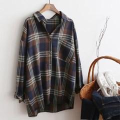 여성 사선 포켓 타탄 체크 루즈핏 카라 셔츠