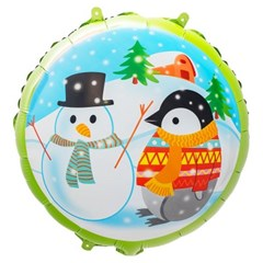 [원팩] 크리스마스 은박풍선 18인치 라운드 펭귄과 눈사_(11907876)