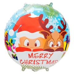 [원팩] 크리스마스 은박풍선 18인치 라운드 산타와 루돌_(11907874)