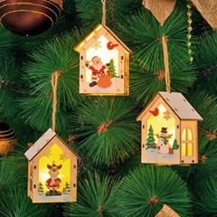 크리스마스 LED 목재오너먼트 하우스 3종세트_(11908987)
