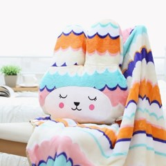 편안한 토끼인형쿠션 따뜻한 양면극세사 대형무릎담요_(1127304)