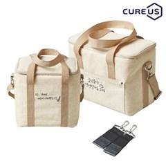 큐어스 캘리 중형+미니(문구 택1) 보온보냉가방세트+사은품