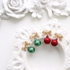 [우아한 공방] 크리스마스 리본 벨 귀걸이(92.5% 은침)