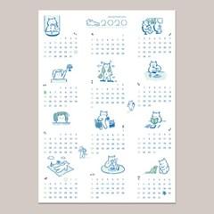 2020 연력 - 고양이 하루 포스터 캘린더 고양이 달력