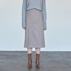 WOOL SLIT MIDI SKIRT_OATMEAL