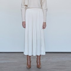 DRAMATIC WRINKLE LONG SKIRT_IVORY
