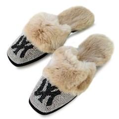 kami et muse Glittering cubic fur slippers_KM19w209