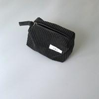 골덴 차콜 네모 파우치(Corduroy charcoal oblong pouch)