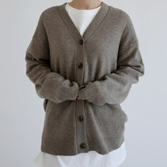 cashmere v neck cardigan (brown)_(1411283)