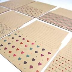 크라프트 패턴 편지지 랜덤(낱개)