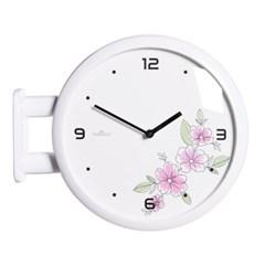 (ktk138)심플 화이트양면시계 (핑크꽃)_(52199)