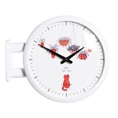 (ktk139)심플 화이트양면시계 (레드캣)_(52198)