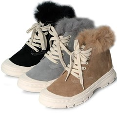 kami et muse Fur trimming high top sneakers boots_KM19w213