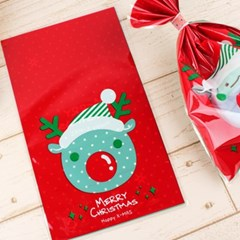 루돌프도트 크리스마스 포장지 포장봉투 15x25cm 1매