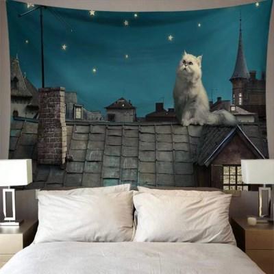 태피스트리 벽장식 패브릭포스터 - 지붕 위 고양이 (150x130cm)