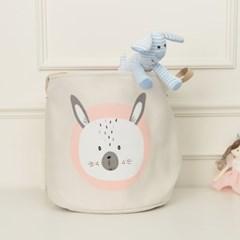북유럽  패브릭 장난감 바구니 미스티 핑크 토끼