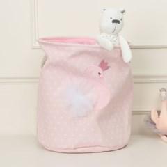 북유럽  패브릭 장난감 바구니 도트 핑크 플라밍고