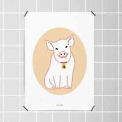 복돼지2 금전운 M 유니크 인테리어 디자인 포스터 동물