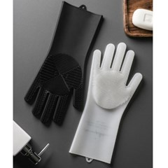 블랙 화이트 모던 실리콘 수세미 고무장갑 주방장갑