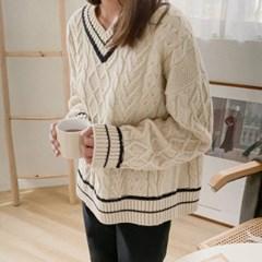 배색라인 브이넥 꽈배기니트 - knit(2609155)_(1511347)