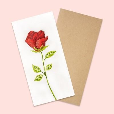 산타 레터프레스 빨간장미 카드(SLP19002)