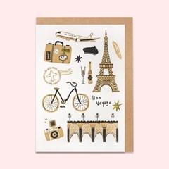 산타 레터프레스 파리여행 카드(SLP19008)