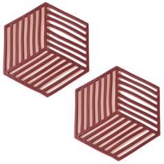 세븐프리 실리콘 냄비받침 사선 레드 2개세트_(2792222)