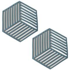 세븐프리 실리콘 냄비받침 사선 블루 2개세트_(2792221)
