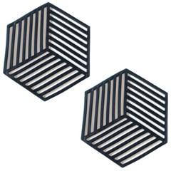 세븐프리 실리콘 냄비받침 사선 블랙 2개세트_(2792220)