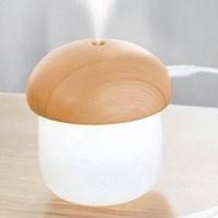 머쉬룸 디자인 LED 저소음 1인용 미니가습기 브라운