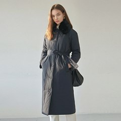 FUR LONG PADDING COAT_NAVY