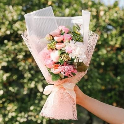 [메세지픽+쇼핑백증정] 앨리슨 비누꽃 목화 꽃다발_핑크
