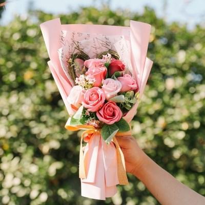 [메세지픽+쇼핑백증정] 알리 핑크하트 비누꽃다발