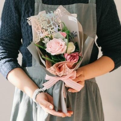 [메세지픽+쇼핑백증정] 클레어 하트 장미 비누꽃다발