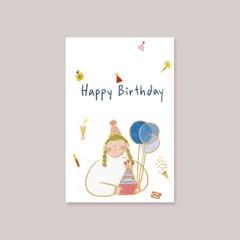 캘리엠 해피벌스데이 걸스 캘리그라피 생일카드