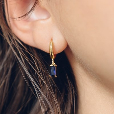 cubic one touch earring (4colors)