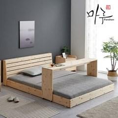 소나무원목 갤러리 저상형 SS 침대 독립기본 풀세트_(3374)