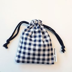 vintage check string pouch_네이비