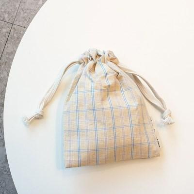 pastel check string pouch_옐로우아이보리