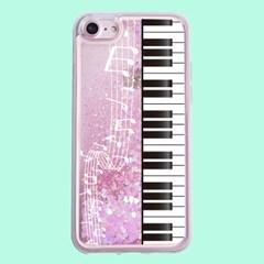 [헬로래빗]피아노 아쿠아 글리터 핸드폰 케이스