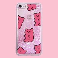 [헬로래빗]확대꼬마곰젤리 핑크 아쿠아 글리터 핸드폰 케이스