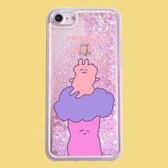 [헬로래빗]소원숲 토끼인형 아쿠아 글리터 핸드폰 케이스